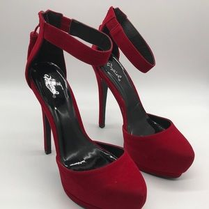 Qupid  Red Velvet  Heels Zipper With Tassel   9